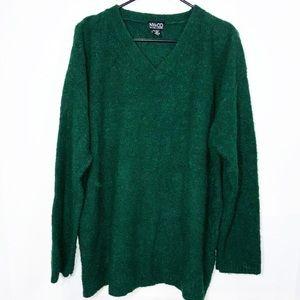 Chunky Wool Blend V Neck Green Sweater Oversized